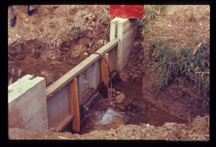 Weir placed across small stream and fitted with apparatus which instills molluscicide according to rate of water flow (Puerto Rico).